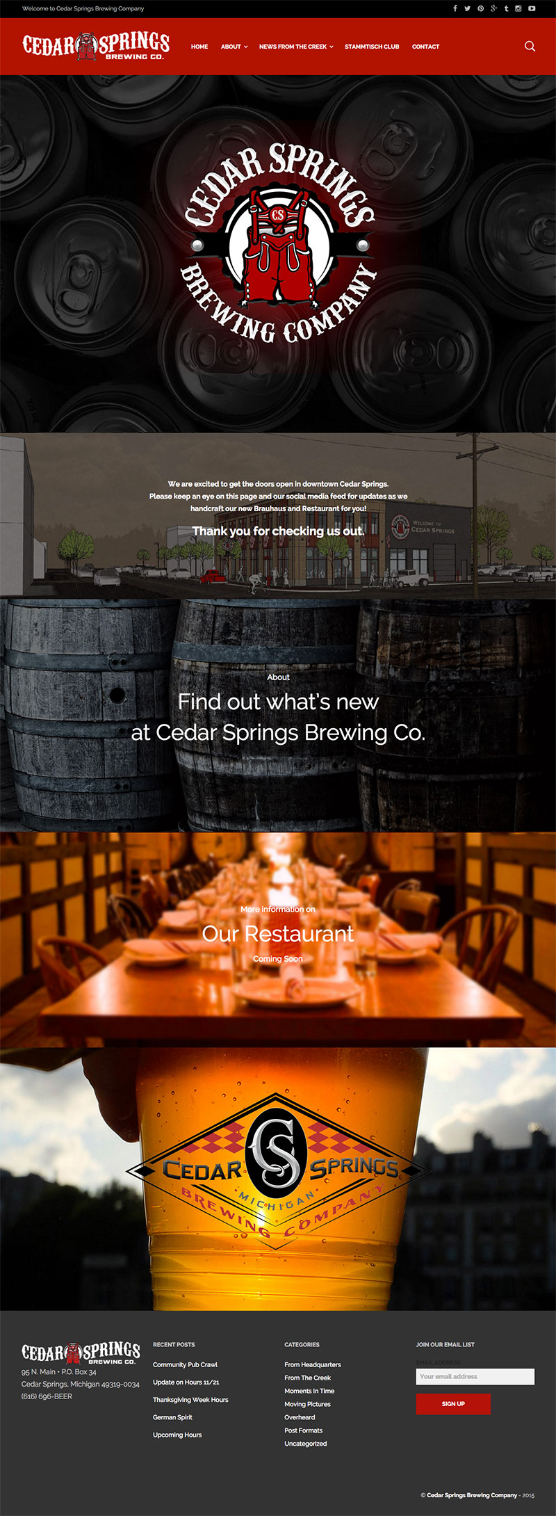 Cedar Springs Brewing Company homepage